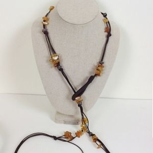 Lariat Brown Leather, Stones, Beads Necklace …